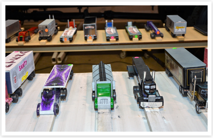 Picture of the Big Rig Pinewood Derby cars